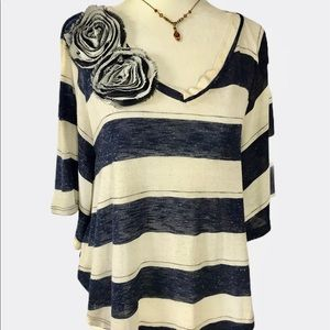 Papaya striped butterfly sleeves top
